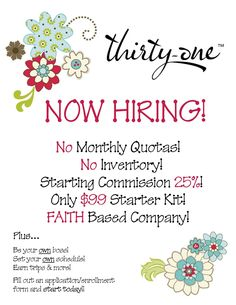 Want to change your life for the better?? Enjoy what you do and PARTY every time you go to work??? Join my team!! Small investment, HUGE reward!!!! www.mythirtyone.com/tdrewes