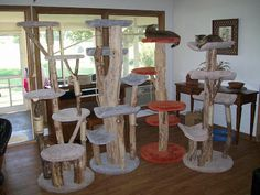 how to connect real tree trunk base to make a cat tree - Google Search