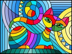 Find Illustration in stained glass style with abstract geometric cat stock vectors and royalty free photos in HD. Explore millions of stock photos, images, illustrations, and vectors in the Shutterstock creative collection. Stained Glass Quilt, Stained Glass Patterns, L'art Du Vitrail, Geometric Cat, Geometric Quilt, Cat Quilt, Arte Pop, Fabric Painting, Pattern Art