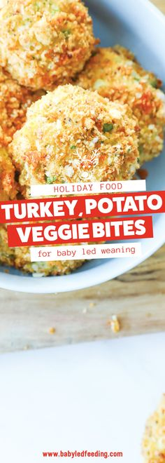 Use up your thanksgiving leftovers with these yummy turkey, potato, and veggie bites. Healthy baby led weaning leftover recipe! #babyledweaning #babyledfeeding #thanksgiving #leftovers