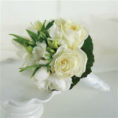 White Rose and Freesia Bridal Bouquet