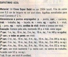 SAPATINHO AZUL EM TRICO - RECEITA