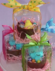 Cute Easter gift. Make a small chocolate bowl, fill with peeps & candy eggs. Wrap it up pretty!