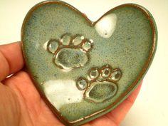 Paw Print Heart Dish Dog Lover Gift Cat by spinningstarstudio
