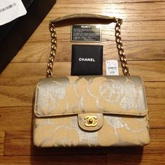 """Selling this """"Rare Chanel Camellia Straw 10"""" Flap w/brushed gold"""" in my Poshmark closet! My username is: luxnelle. #shopmycloset #poshmark #fashion #shopping #style #forsale #CHANEL #Handbags"""