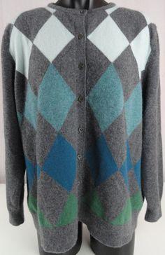 Lands' End Womens 2X Sweater 100% Cashmere Cardigan Argyle Front Gray 22W-24W #LandsEnd #Cardigan