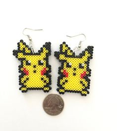 Pokemon Pikachu Perler Bead Earrings Perler by CarafirasCreations