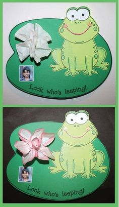 """End of the year activities: Adorable """"Look who's leaping!"""" frog on a lily pad.  I made the water lily out of a coffee filter.  Sweet end of the year bulletin board."""