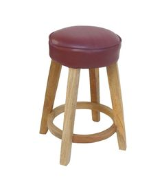 Solid Wood Stool With Red leather Seat Rustic Wood Furniture, Wood Stool, Online Furniture Stores, Foot Rest, Couches, Bar Stools, Red Leather, Solid Wood, Upholstery