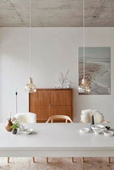 Clean white dining table