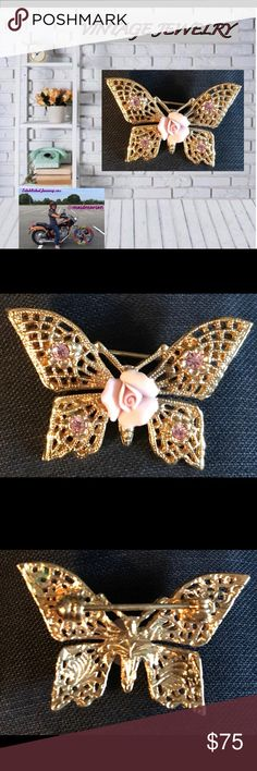 VTG EXQUISITE CHINA ROSE BUTTERFLY BROOCH This VTG EXQUISITE CHINA ROSE BUTTERFLY BROOCH exceeds all expectations for the butterfly lover! Four bezel set pink tourmaline stone inlaid in each wing with a perfect China rose as a centerpiece. Stunning accessory! A must have! Any questions please ask! Trades. Offers welcome and remember to bundle for additional savings! Tx for browsing! Marian Vintage Jewelry Brooches
