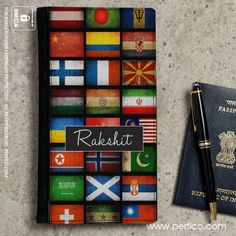 Stripes /& Dots Genuine Leather Passport Cover Personalized