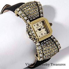 "Heidi Daus Covered Dial Crystal Accented ""Bow"" Design Strap Watch New HSN"