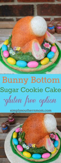 Make this cute Bunny Bottom Sugar Cookie Cake for Easter. Only has a few ingredients and can be made in around 30 minutes! It has a n easy gluten free option too.