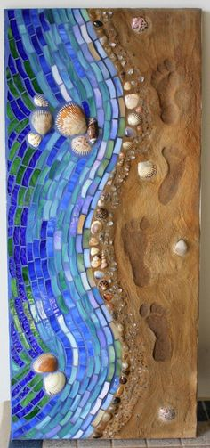 Mosaic, Mixed Media, Glass, Shoreline Footsteps in Sand. $250.00, via Etsy.