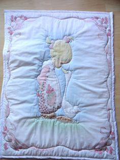 Pink Girl with Goose Precious Moments Baby Panel Quilt. $75.00, via Etsy.
