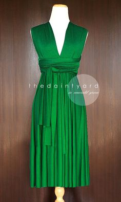 Short Straight Hem Emerald Green Bridesmaid Convertible Dress Infinity Dress Multiway Dress Wrap Dress Green