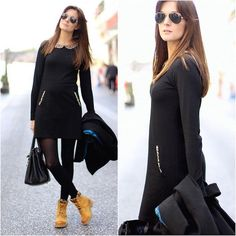 New Timberland Boats Outfit Winter Leggings Casual Ideas Outfit Con Botas Timberland, Mode Timberland, Timberland Boots Women, Timberlands, Black Timberland Outfits, Black Boots Outfit, Winter Boots Outfits, Yellow Boots, Fall Outfits
