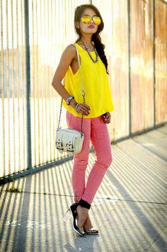 Shop this look on Kaleidoscope (aviators, jeans, heels, top, necklace, bracelet, bracelet, purse)  http://kalei.do/W9C9Ab0ZmQpMorEF