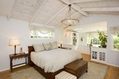 Whitewashed wood beam ceiling