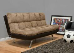 """One New Microfiber Adjustable Futon Sofa Bed, #BM-0905 by UTM. $549.00. * Solid wood frame use in the sofa construction. * Color match back and side of the futon sofa bed. * All of the seats and backs are high density foam to give comfort and support. * Three stages adjustable back. * Chromed finished legs. Measurement Sizes Length Depth height Sofa 70"""" 34"""" 35"""" Bed 36"""" 46"""" 18"""""""