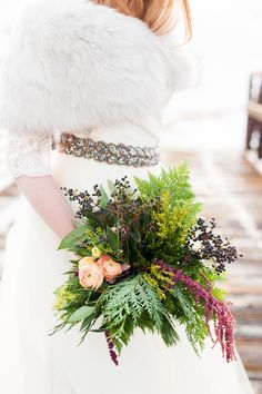 Rustic bouquet: http://www.stylemepretty.com/2015/02/10/rustic-winter-bridal-inspiration/ | Photography: Candice Benjamin Photography - candicebenjamin.com
