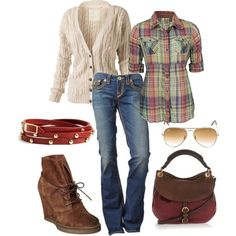 """Pair some bootcut jeans with a plaid button-down, cream """"chunky"""" cardigan sweater, red belt, and cute wedge ankle boots.  Aviators and brown handbag round out the cute outfit. polyvore outfits for fall"""