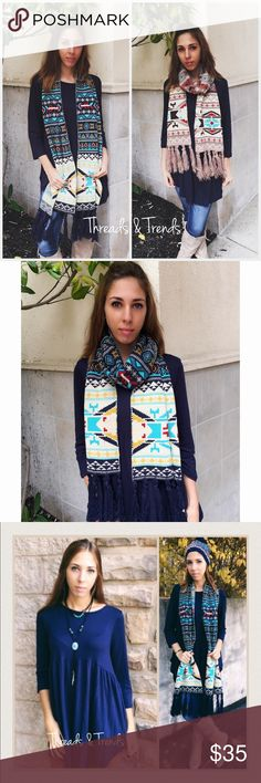 Navy Nordic Print Jacquard Chunky Knit Scarf Fabulous look!!! Navy Nordic print jacquard chunky knit scarf with fringe detail. Too cute for the holidays. Makes a perfect gift.                                                                Search ID # chunky knit long infinity cowl neck scarf Accessories Scarves & Wraps