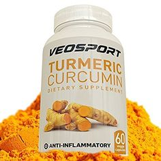 Veosport Turmeric Curcumin Dietary Supplement with Bioperine, 60-Vegie Capsules ** Check this awesome image  : Healthy Herbal Supplements