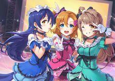 The original three, love live Cute Girls, Cool Girl, Love Live School Idol Project, Choker Dress, Yellow Eyes, Blue Eyes, Kawaii Anime Girl, Anime Girls, Anime Life