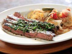 Espresso Steak with Baked Zucchini and Potatoes Recipe : Rachael Ray : Food Network Potato Recipes, Beef Recipes, Cooking Recipes, Healthy Recipes, Beef Meals, Veggie Recipes, Vegetarian Recipes, Marinated Flank Steak