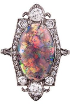 Once-in-a-Lifetime Art Deco Opal & Diamond Plaque Ring, ca 1925. by terrand