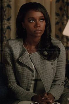Michaela's grey quilted jacket on How to Get Away with Murder.  Outfit Details: http://wornontv.net/38955/ #HTGAWM