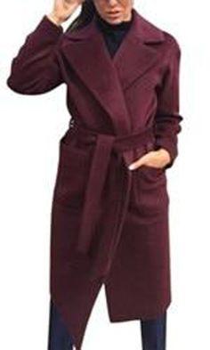 1737f02d8fd Women s Coat Long Sleeve Medium-long Notched Collar Open Front Belt
