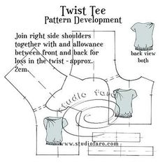 A simple shoulder twist for your favourite tee shirt pattern. Pdf Sewing Patterns, Vintage Patterns, Clothing Patterns, Knitting Blocking, Suit Pattern, Top Pattern, Pattern Draping, Sewing Studio, Pattern Fashion