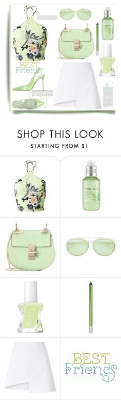 """""""Green"""" by evachasioti ❤ liked on Polyvore featuring Miss Selfridge, The Face Shop, Chloé, 3.1 Phillip Lim, Essie, Urban Decay, WÃ¥ven, Le Silla, Summer and floral"""