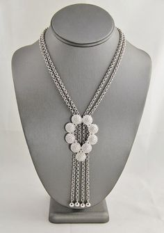 VINTAGE Jewelry CROWN TRIFARI SILVER TONE MODERNIST FESTOON CHAIN NECKLACE