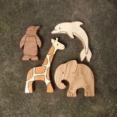 ZOO SET - 4 Wooden Toy Animals - Giraffe, Penguin, Dolphin, Elephant - Wood Toys - all natural teethers and Waldorf toddler toys via Etsy