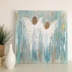 Original Abstract Angel Painting on a 24x24x2 Gallery Wrapped
