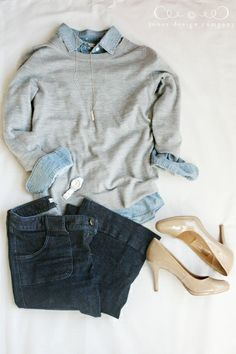 what I wore: gray sweater, chambray, jeans