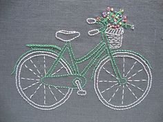 Designed and packaged by iHeartStitchArt, this bicycle embroidery pattern comes in a complete kit with thread and linen. The basket is brimful of bright and joyful flowers. Nothing says summer like a
