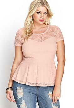 Knotted Lace Peplum Top | Forever 21 PLUS - 2000062833