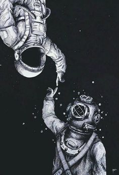 astronaut or diver, both floating in their worlds