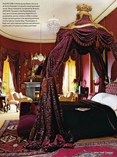 Historical interior from Alnwick Castle in England. This Traditional Style bedroom combines Plum Purple and Burgundy Wine for a sumptuous look.