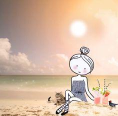 Annelinde Tempelman / Met cocktail op het strand