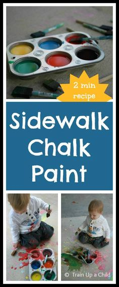 Homemade Sidewalk Chalk Paint - This two ingredient recipe takes TWO minutes to prepare!