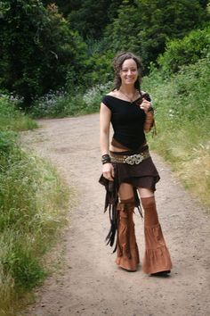 Temple Leg Flares in black cream brown by ElvenForest on Etsy, $62.00
