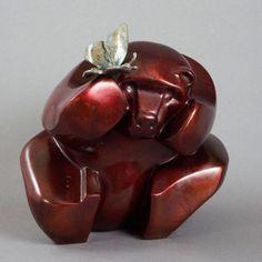 #Bronze #sculpture by #sculptor Mark Yale Harris titled: 'Butterflies are Free (Little Teddy Bear statues)'. #MarkYaleHarris