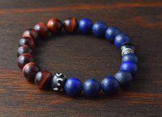 • Opposites Attract! Men's 10mm Bead Bracelet - Beaded Yoga Bracelet - Red Tiger Eye & Matte Lapis Lazuli Bracelet - Lotus and Lava Bracelet •