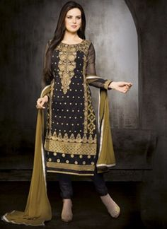 Blooming Black Fancy Embroidery Work Designer Churidar Suit